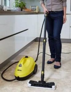 clean the tile floor with steam